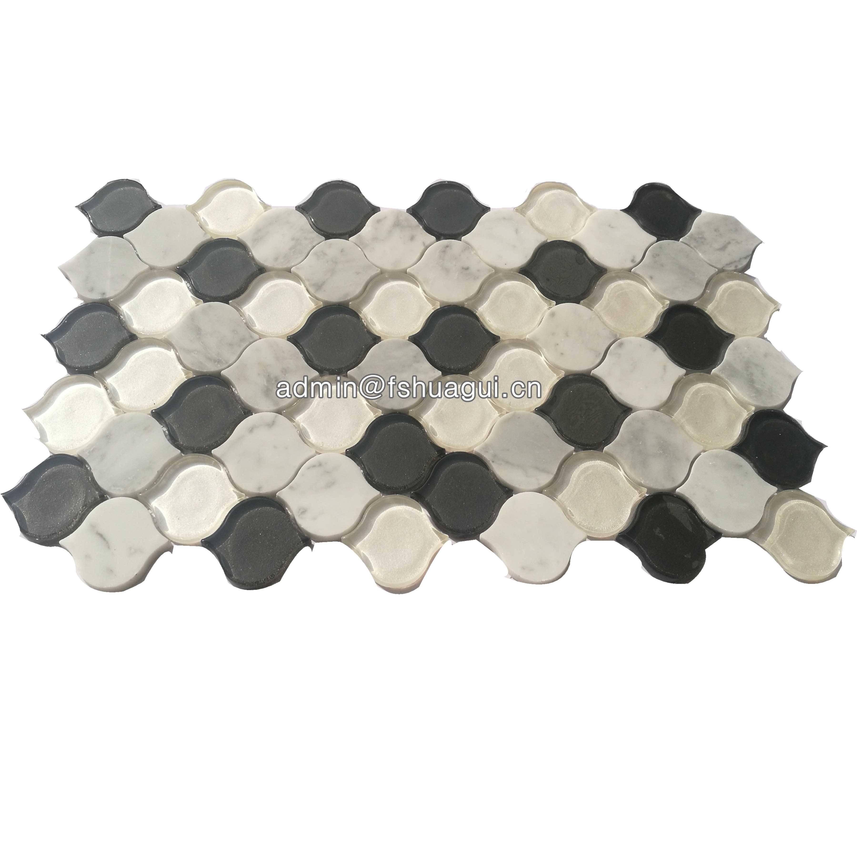 Huagui Beige and white arabesque glass stone mosaic tile HG-WJ401 GLASS MOSAIC TILE image28