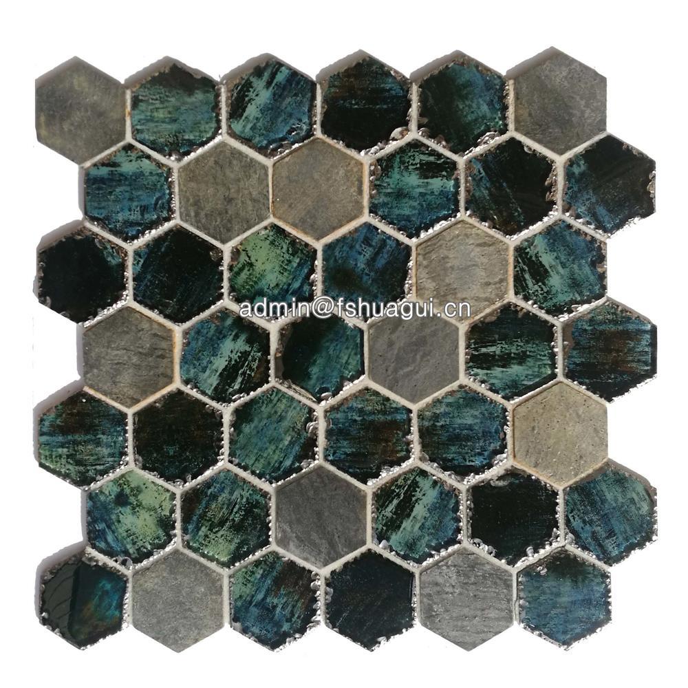 3 inch aurora hexagon ink jet glass stone mosaic tiles