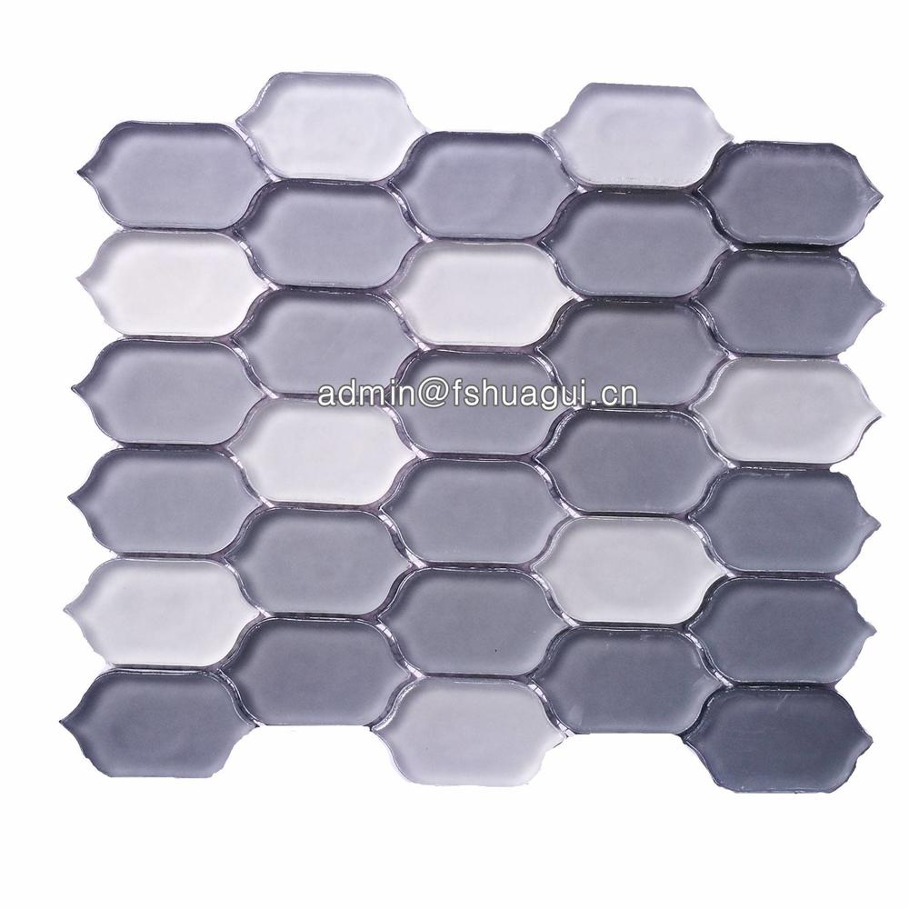 Matte smoke interlocking long hexagon glass mosaic tile