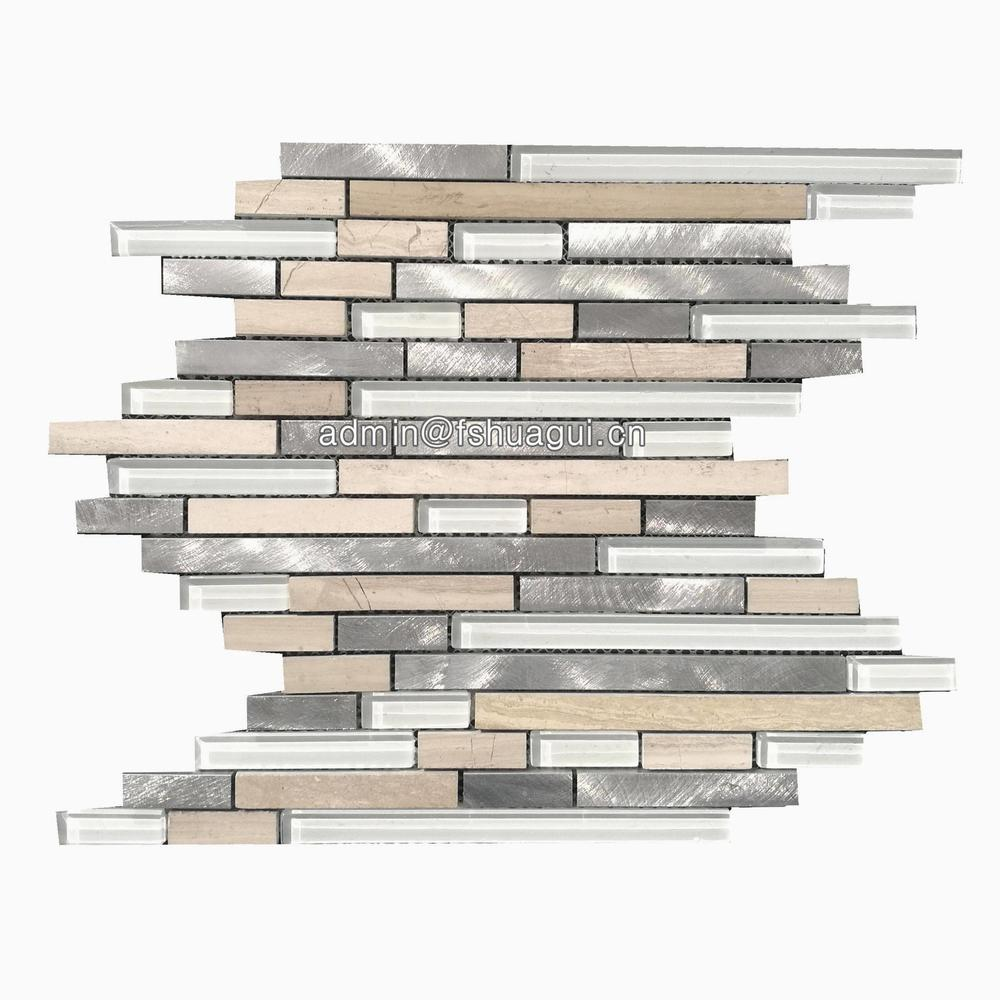 Linear white avalanche glass stone metal tile mosaic wall backsplash