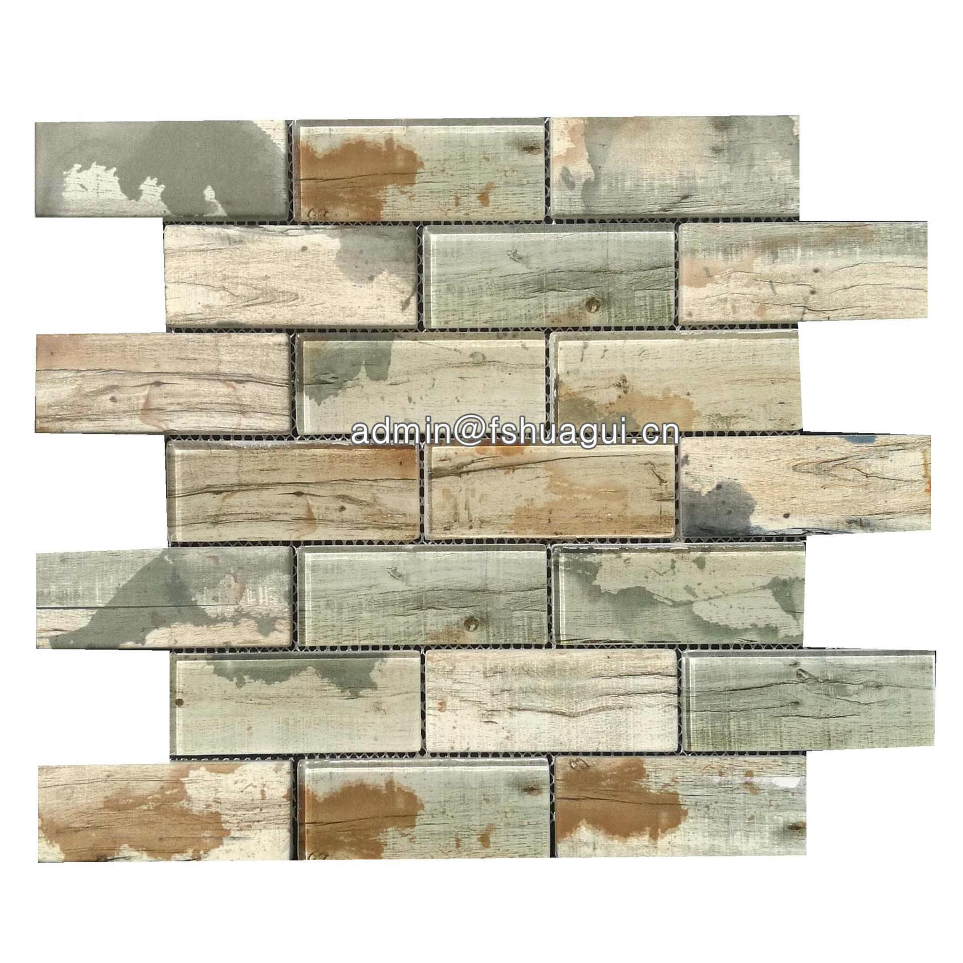 Environmentally friendly recycle inkjet glass mosaic brick tile