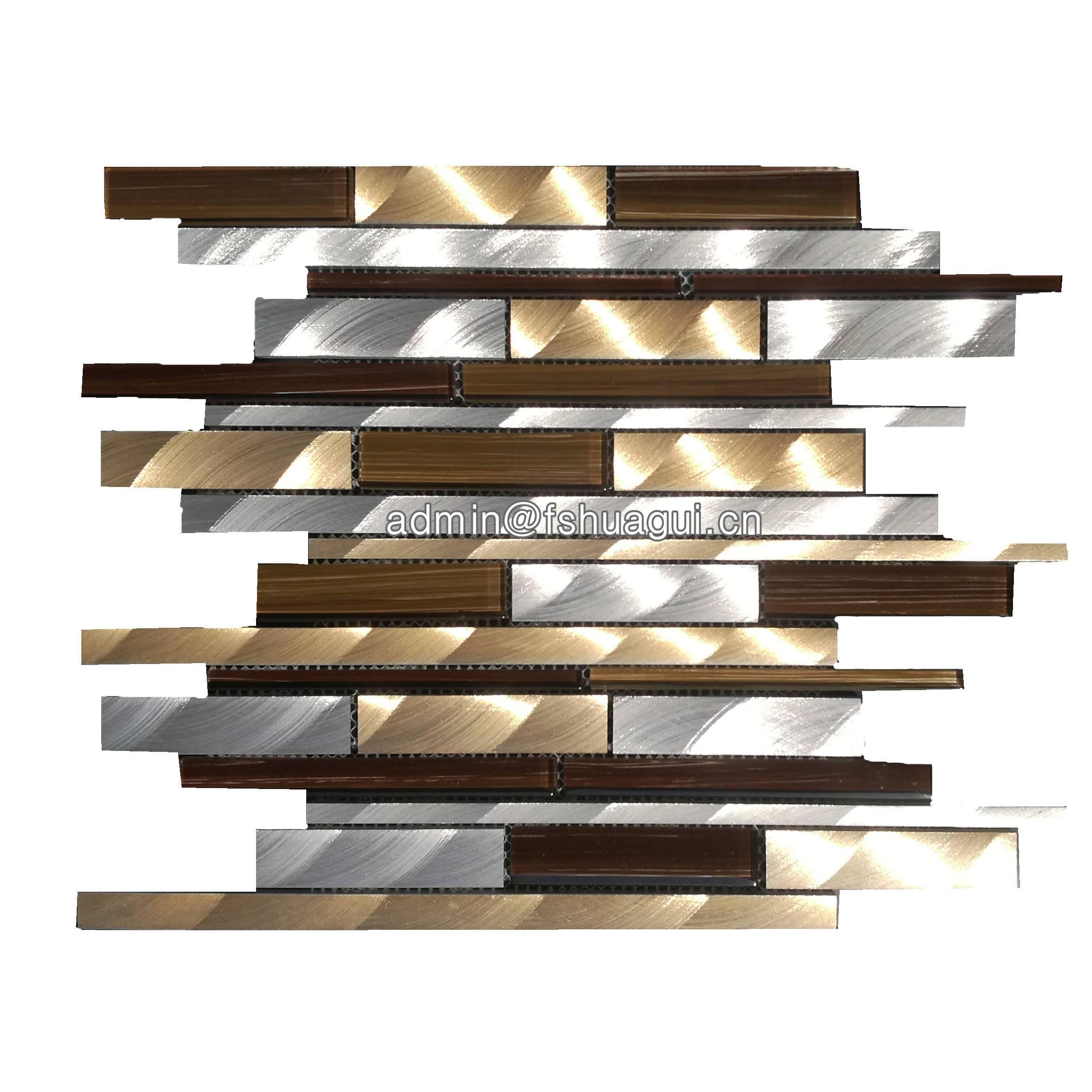 Huagui Brushed golden silver aluminium metal mosaic tiles UK HG-WJ414 METAL MOSAIC TILE image2