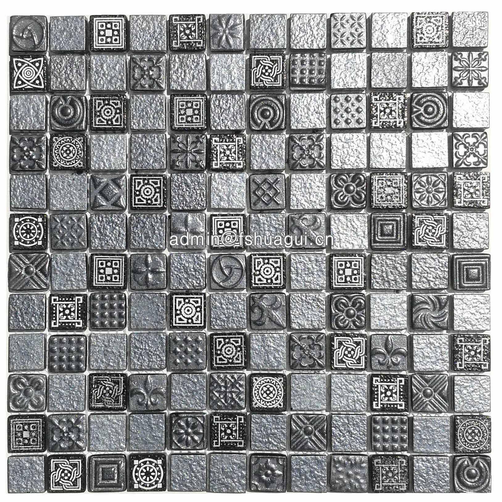 Huagui 1 inch black glass mosaic tiles backsplash HG-WJ418 GLASS MOSAIC TILE image21
