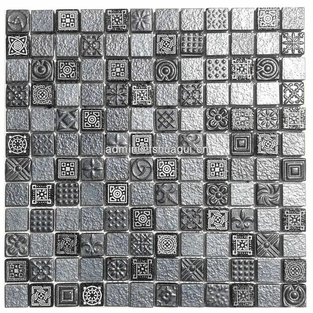 1 inch galaxy black glass mosaic tiles backsplash ideas