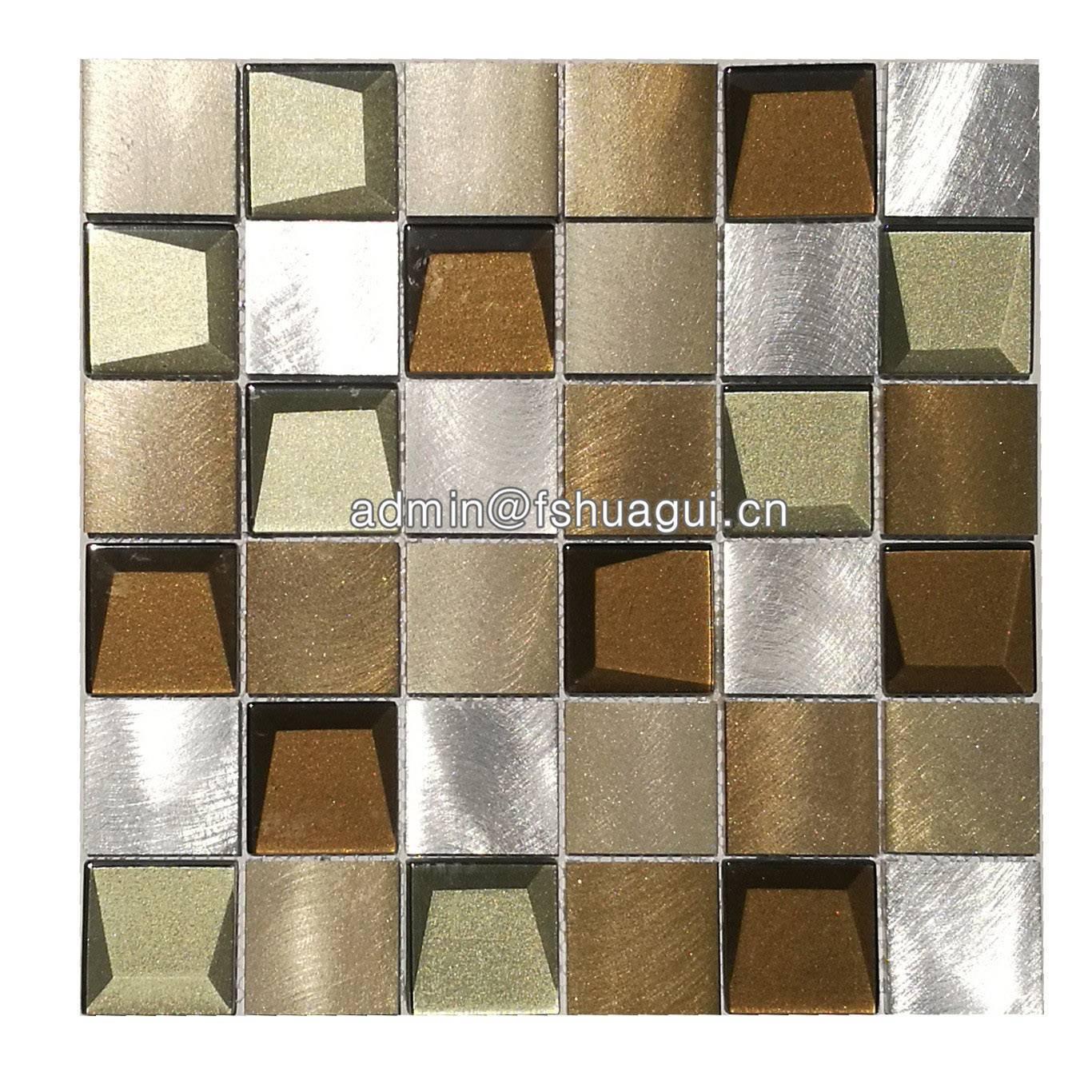 3d beveled dynamic glass facets mosaic blend metal tile backsplash