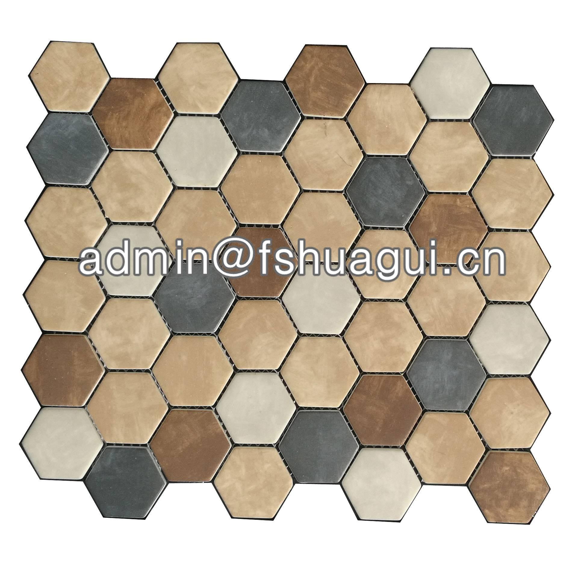 Huagui Brown mix hexagon mosaic tiles south africa HG-WJ407 CERAMIC MOSAIC TILE image1
