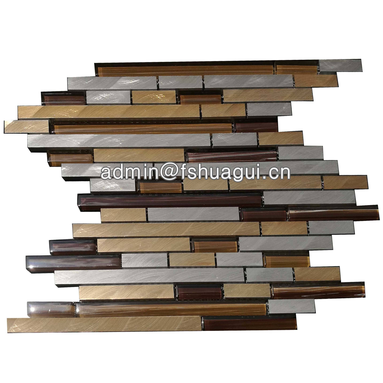 Huagui Keystone metal glass mosaic kitchen tile for house HG-WJ415 GLASS MOSAIC TILE image17