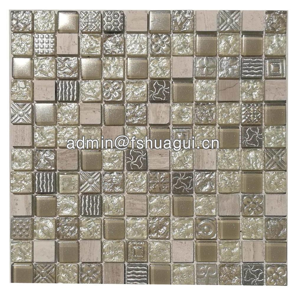 Factory 300 x 300 beige mix crystal glass mosaic tile 8mm HG-WJ420