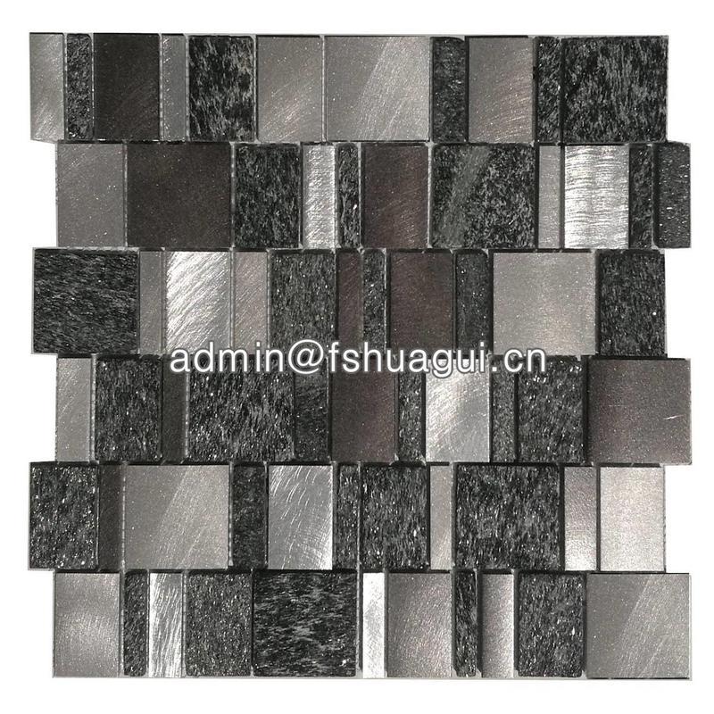 Starburst metal grey mosaic blend glitter black Slate mosaic tiles