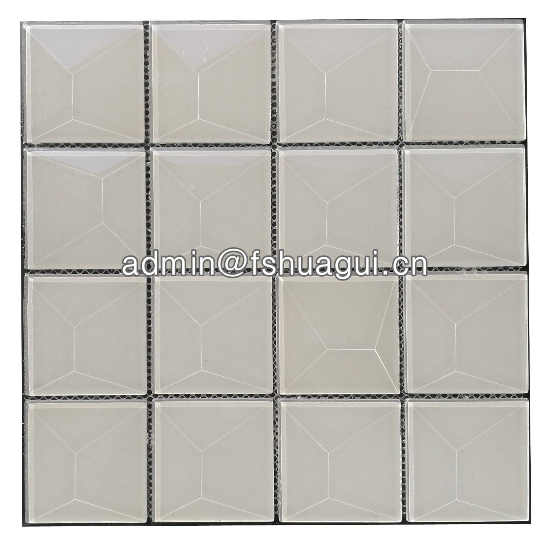 Huagui Popular 3 inch pure snow white beveled glass tile HG-WJ412 GLASS SUBWAY TILE image1