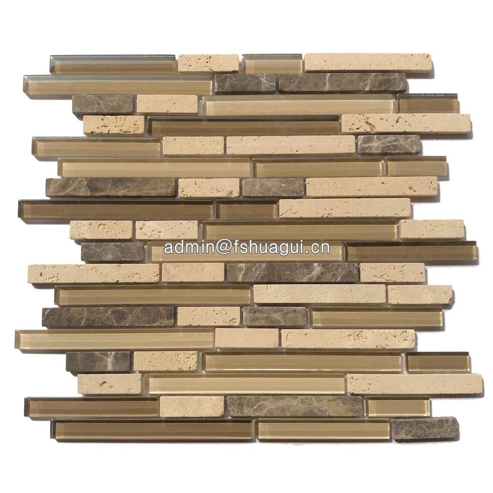 Brown glass stone mosaic tile design backsplash behind stove