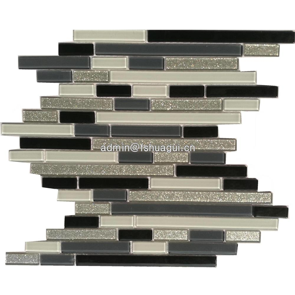 Silver black and white glass mosaic tile design ideas for living room