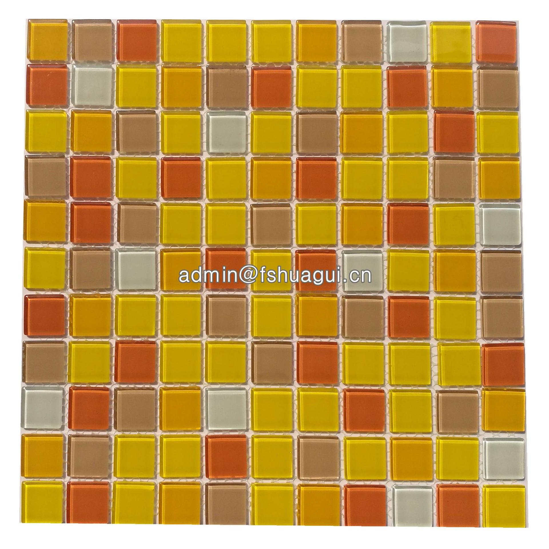 Orange glass mosaic tile design for small bathrooms