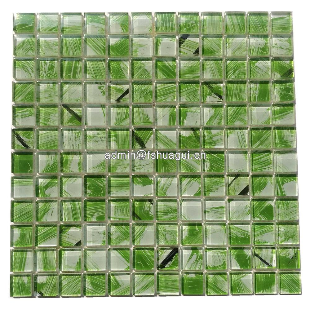 Rip curl green hand painted glass mosaic tiles gallery