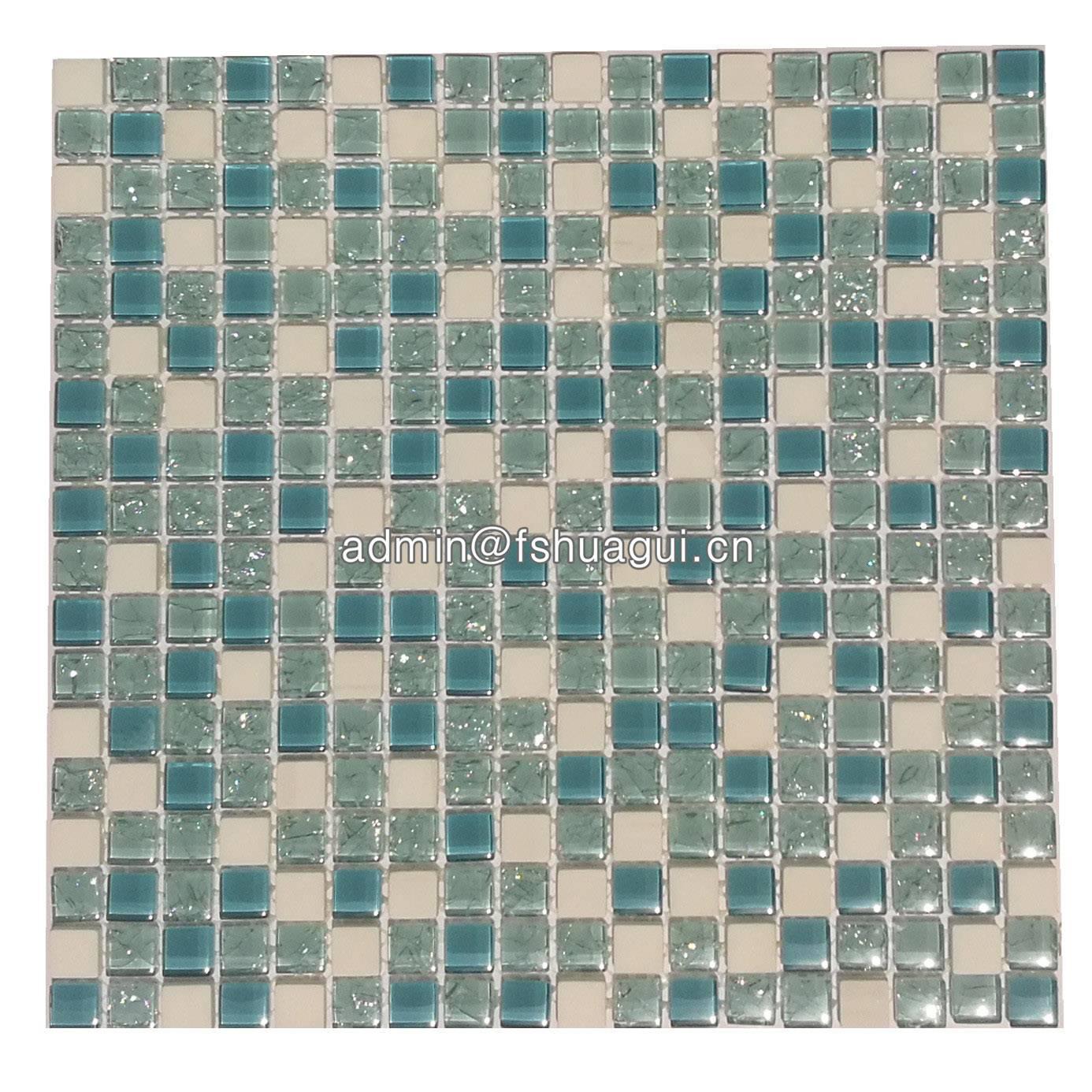 Huagui Tiffany blue crackle glass and white stone mosaic HG-815901 STONE MOSAIC TILE image1