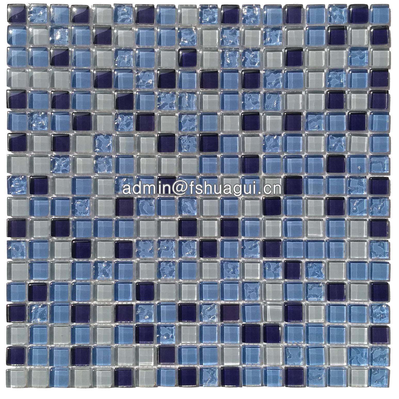 Huagui Crystal glass Blue glass mosaic HG-815002 GLASS MOSAIC TILE image8