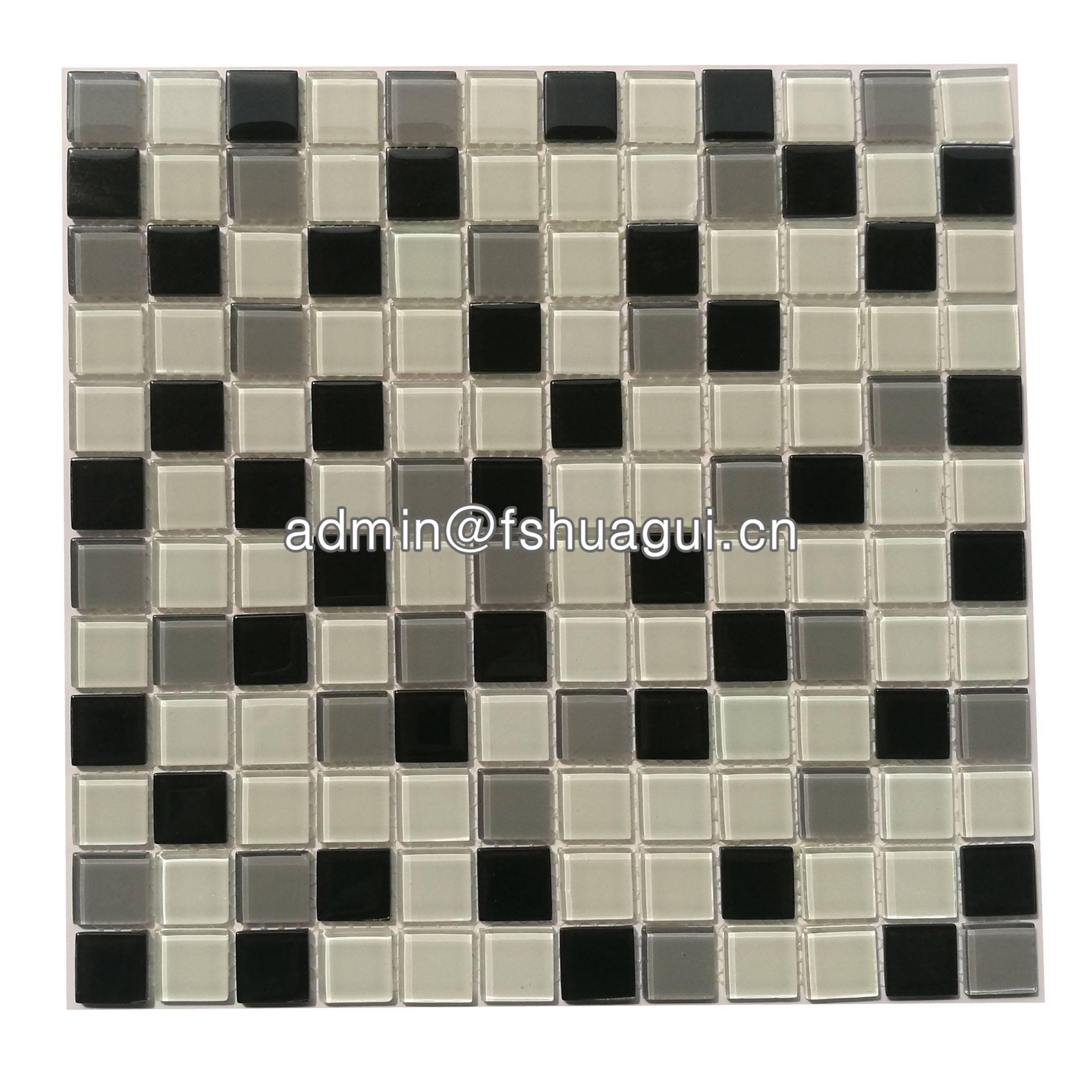 Huagui Black and white glass mosaic tile design for backsplash walls HG-15-6 GLASS MOSAIC TILE image7