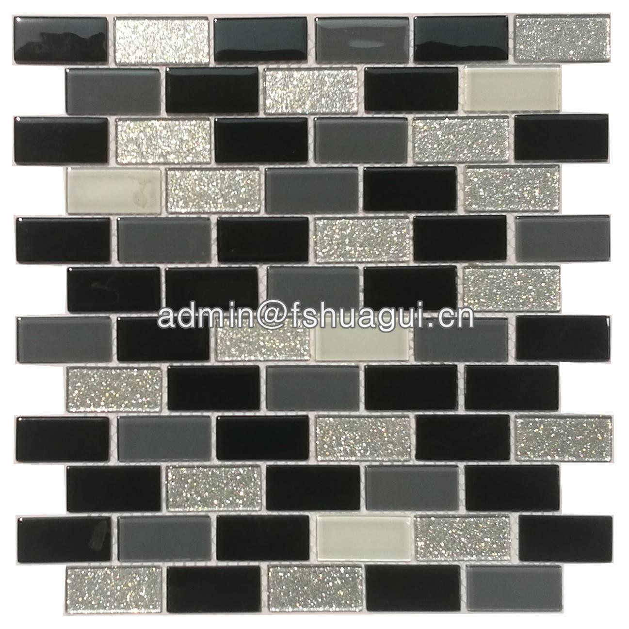 Huagui Silver black and white glass mosaic tile for kitchen backsplash HG-15-17 GLASS MOSAIC TILE image6