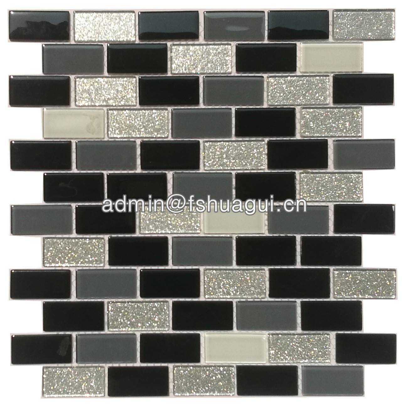 Silver black and white glass mosaic tile for kitchen backsplash HG-15-17