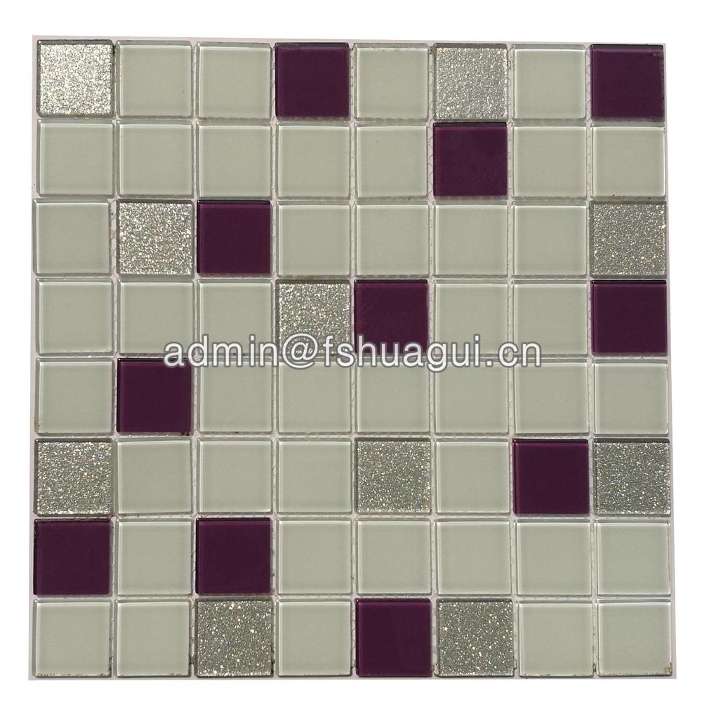 Tub surround purple glass mosaic tile backsplash design HG-13002