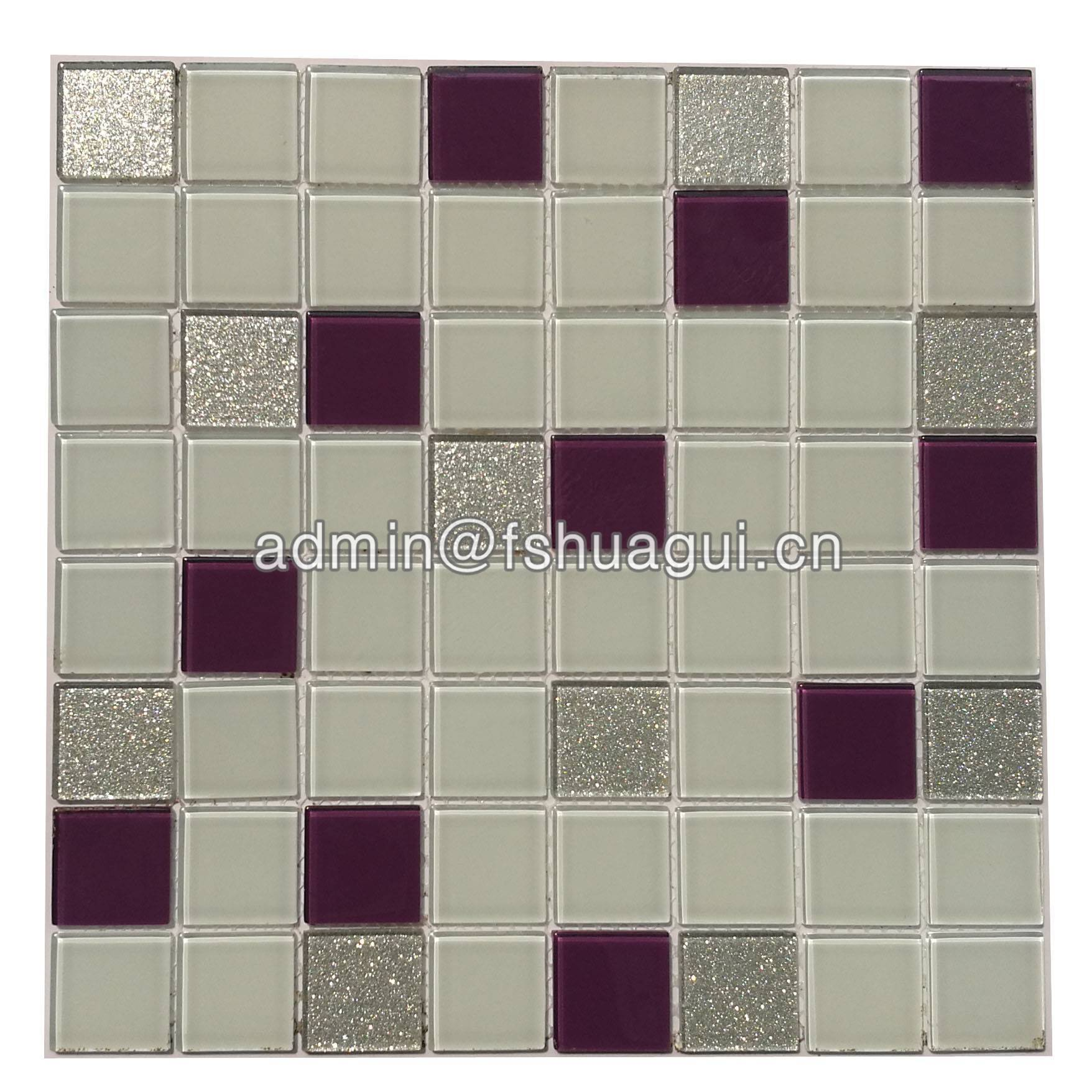 Tub surround purple glass mosaic tile backsplash design HG-13002