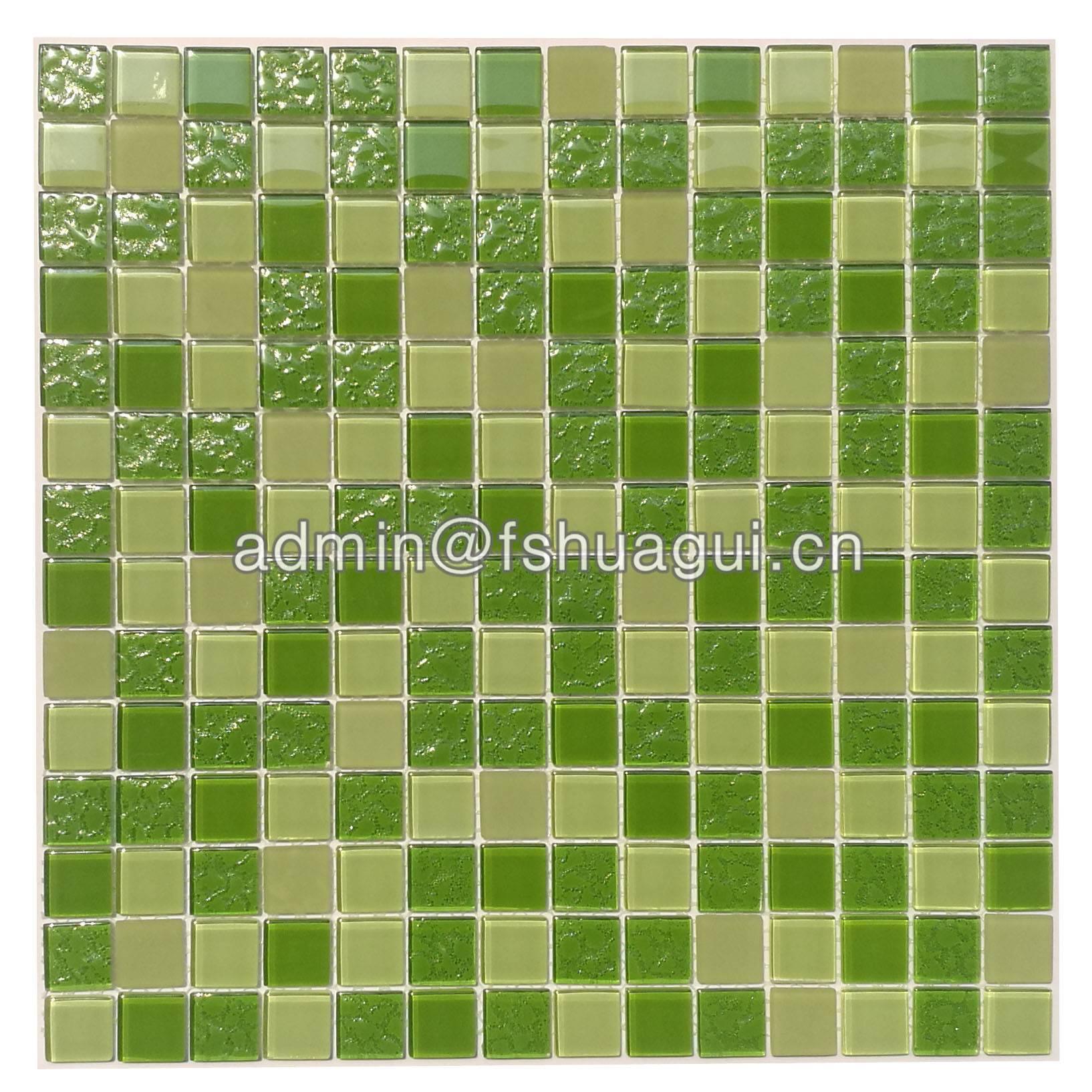 Huagui Fresh green anti slip glass mosaic bathroom tiles singapore HG-420011 GLASS MOSAIC TILE image4