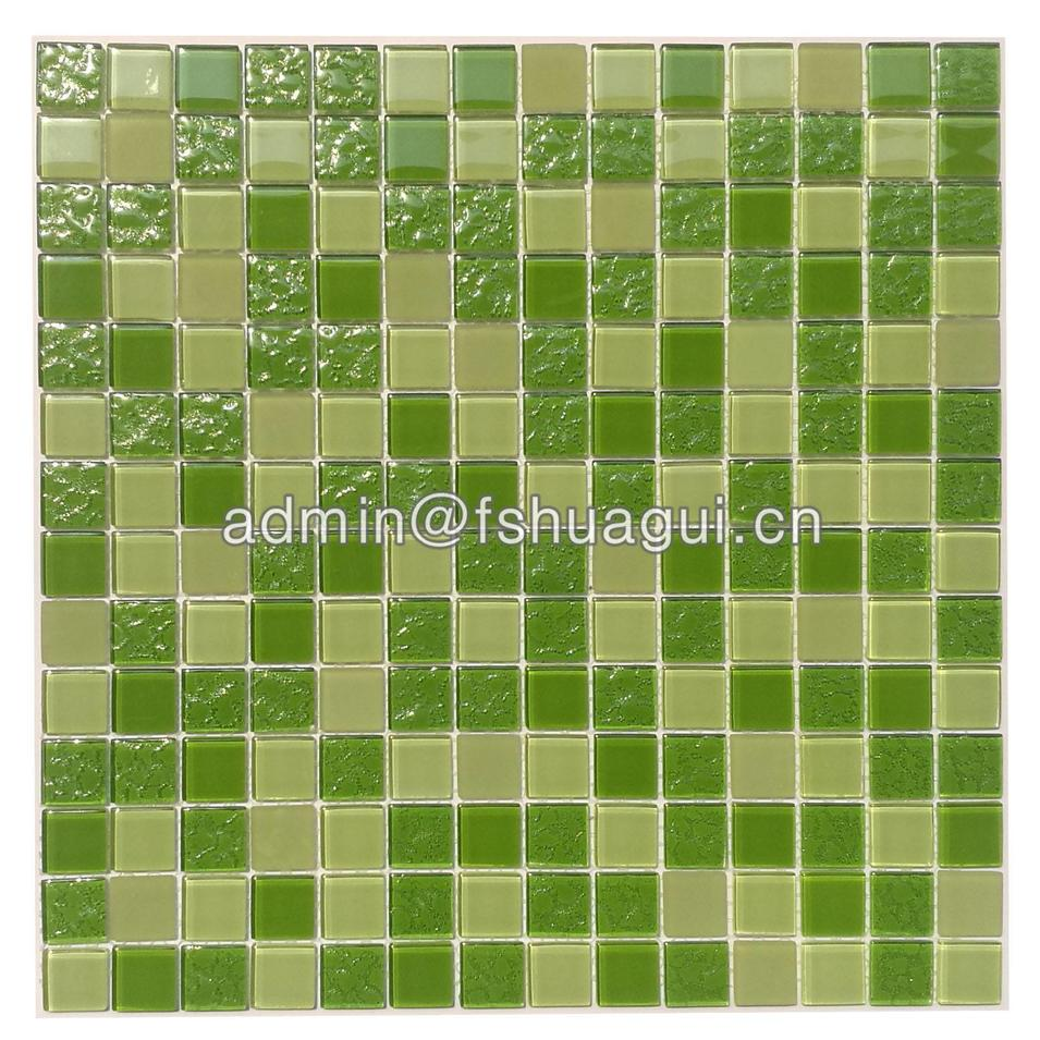 Fresh green anti-slip glass mosaic bathroom tiles Singapore HG-420011