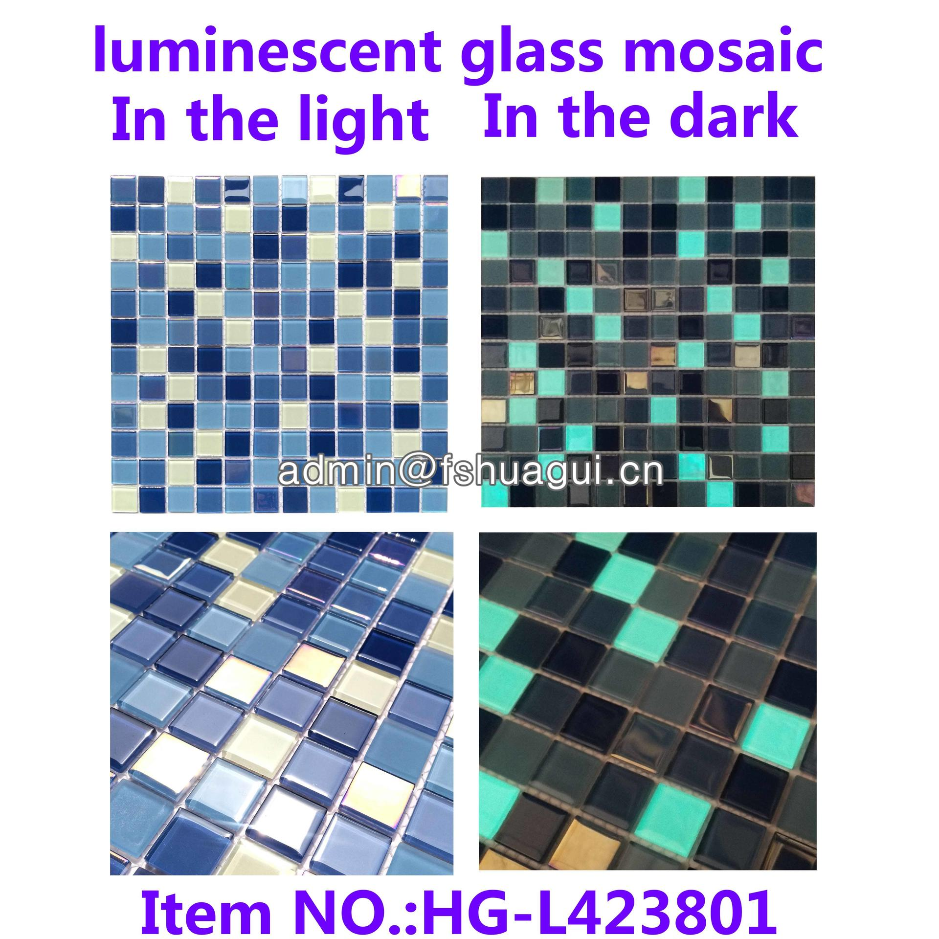 Eco-friendly glow in the dark luminescent glass mosaic pool tile