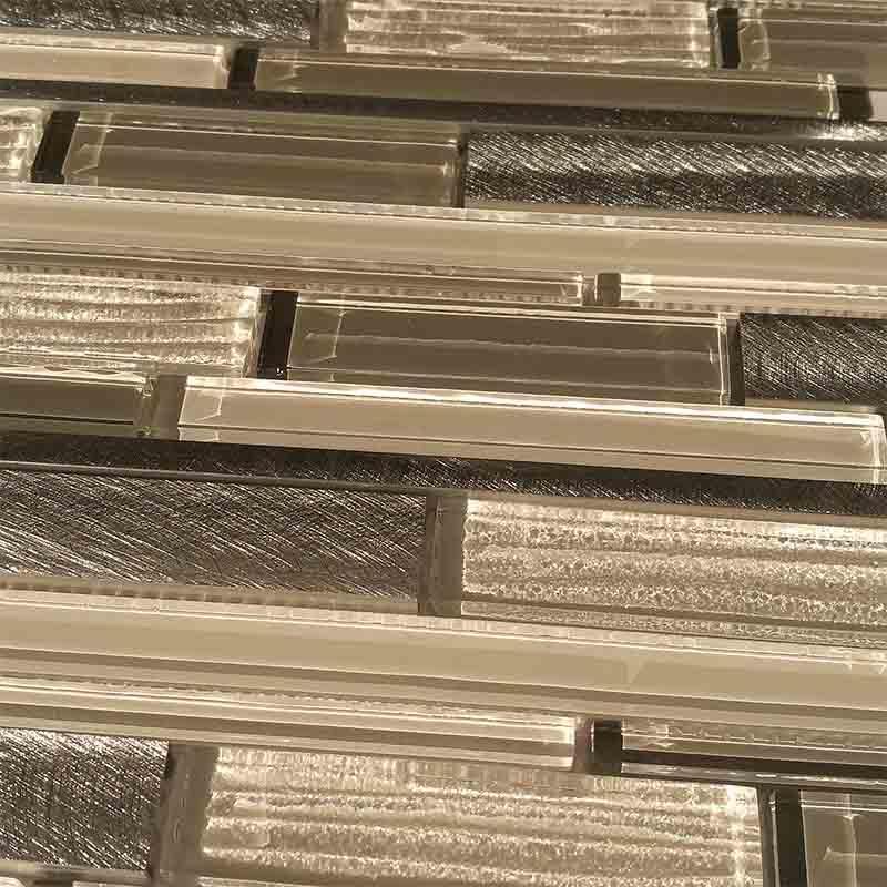 Interlocked glass and aluminum mosaic kitchen backsplash  HG-CDT653