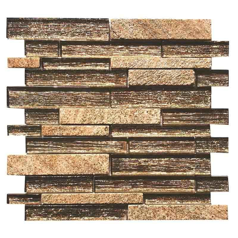 Beige glass slate mosaic tile for luxury villa interior  HG-CDT678