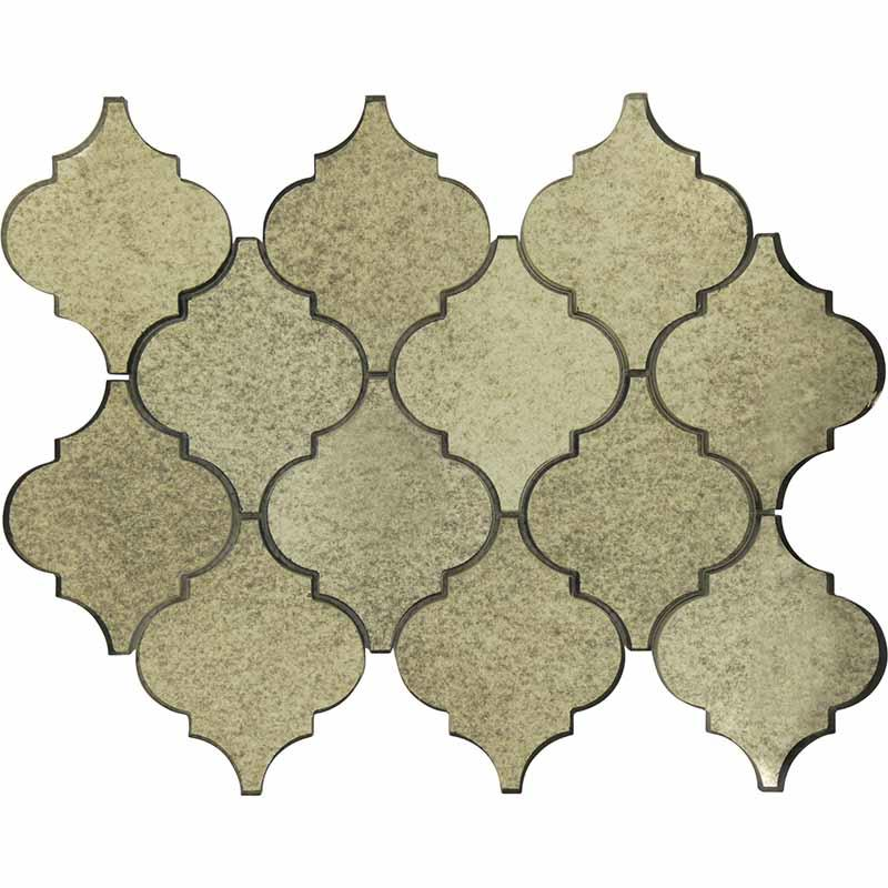 HG-MRH007 Arabesque Antique Mirror Glass Tile Mosaic   HG-MRH007