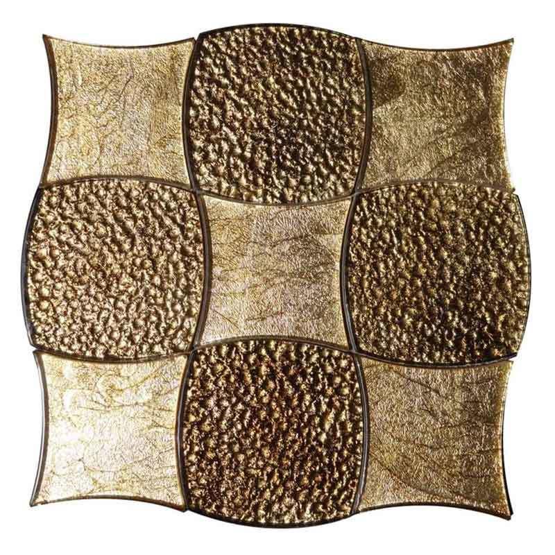 Brown Gold Glass Mosaic Wall Tiles Backsplash  HG-WJ012