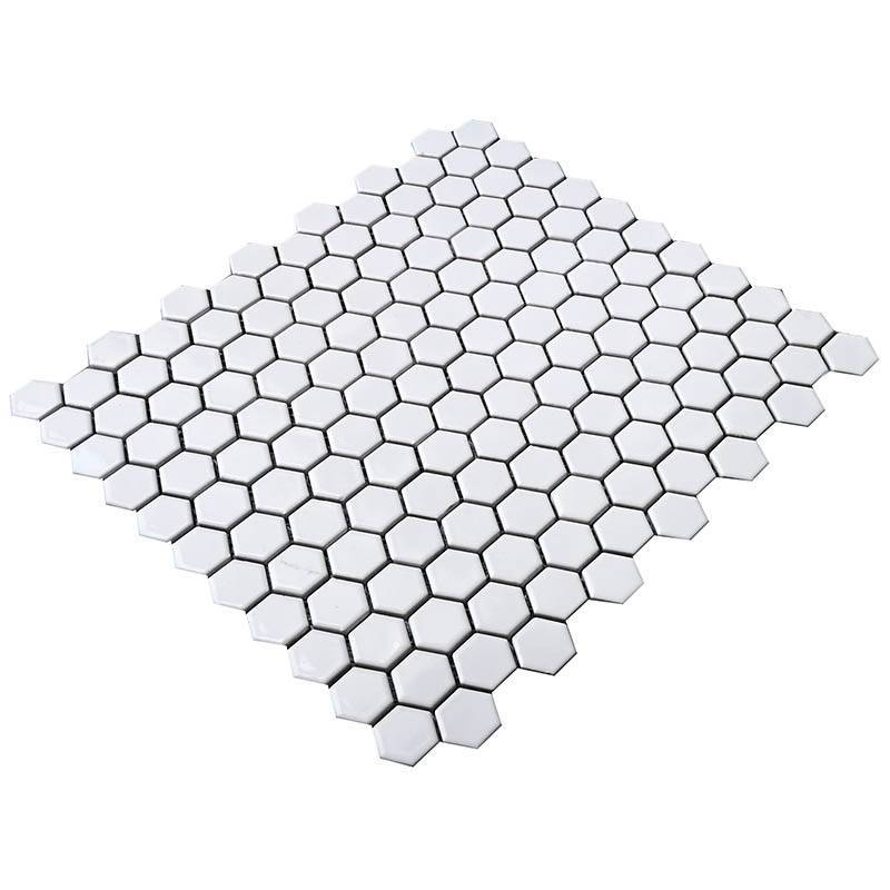White hexagon porcelain mosaic tile for bathroom  HG-Z050