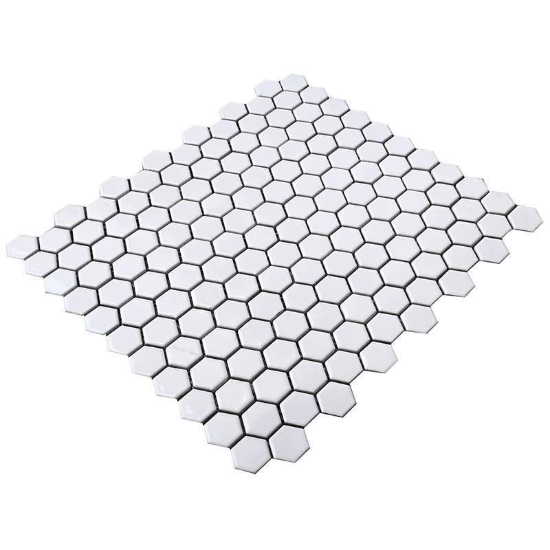 White hexagon porcelain mosaic tile for bathroom  HG-Z050
