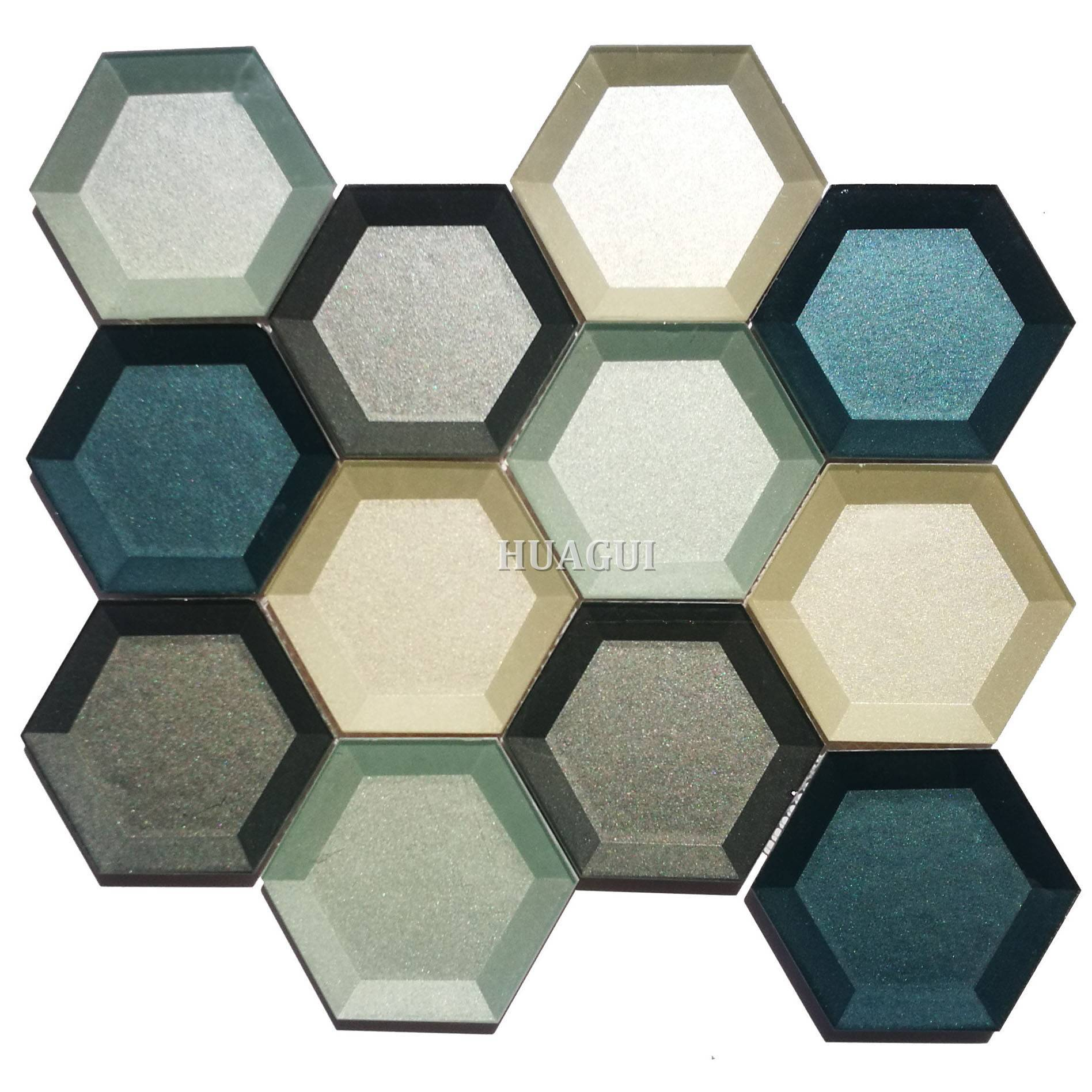 Wholesale decorative glass 3D hexagon tile colorful splashback ideas