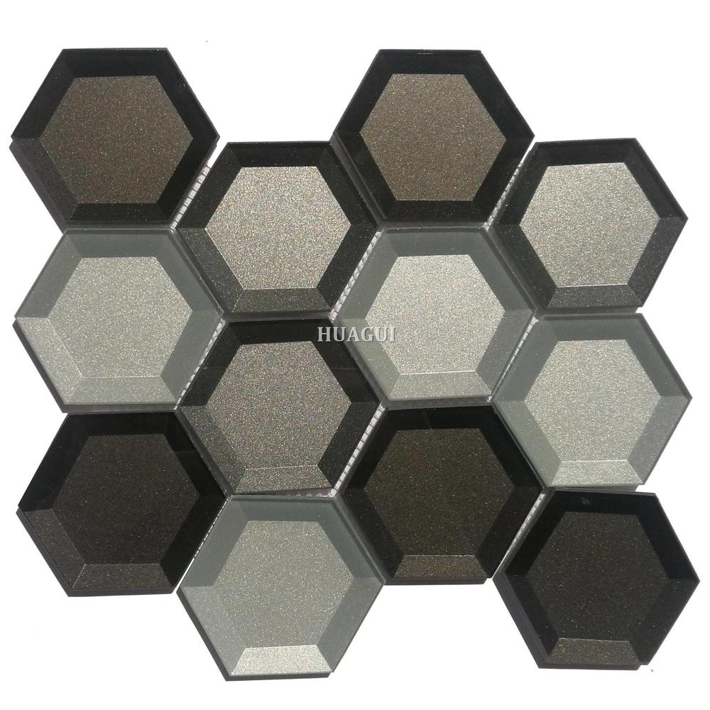 3D grey glass mirror hexagon kitchen wall tile design ideas