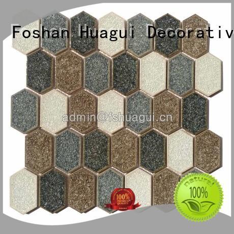 Custom white stone hexagon ceramic tile Huagui top selling