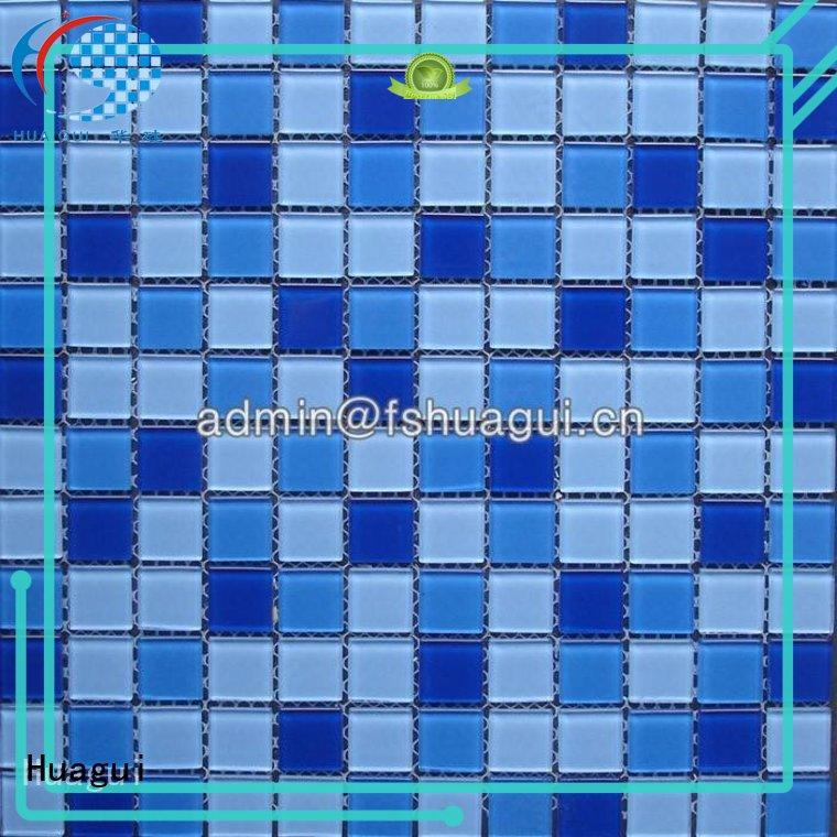 Blue beauty color crystal glass mosaic pool tiles for pool decoration HG-425008